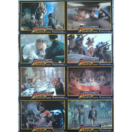INDIANA JONES ET LE TEMPLE MAUDIT - Jeu de 24 photos allemande ULTRA RARE - 1984 - Spielberg, Harrison Ford, Kate Capshaw