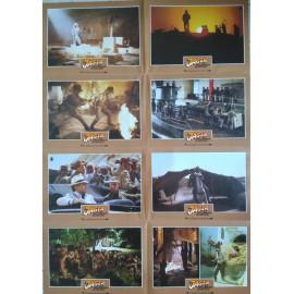 INDIANA JONES - AVENTURIERS DE L'ARCHE PERDUE - Jeu de 8 photos allemande RARE BLOC B - 1981 - Spielberg, Harrison Ford