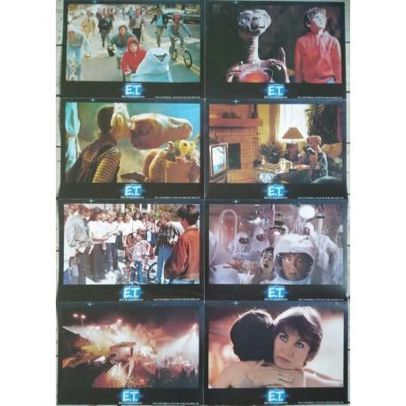 E.T. L'EXTRA-TERRESTRE - Jeu de 8 photos allemande BLOC A - 1982 - Steven Spielberg, Drew Barrymore, Henry Thomas