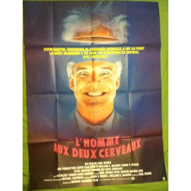 L'HOMME AUX DEUX CERVEAUX - Affiche originale - 1983 - Carl Reiner, Steve Martin, Kathleen Turner, David Warner