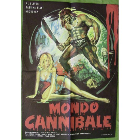MONDO CANNIBALE - Affiche originale - 1980 - Jess Franco, Al Cliver, Sabrina Siani, Jérôme Foulon