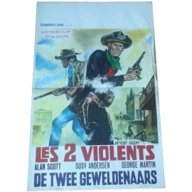 LES 2 VIOLENTS - Affiche originale Belge - 1964 - Anthony Greepy, Alan Scott, George Martin, Susy Andersen
